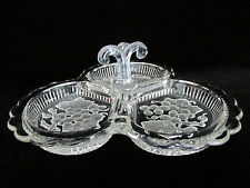 Olive Tray Elegant Depression Glass Crystal Grapes Scalloped Candy Nuts Pickles