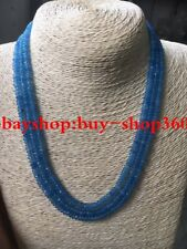 NATURAL 3 Rows 2X4mm FACETED AQUAMARINE BEADS NECKLACE 17-19''