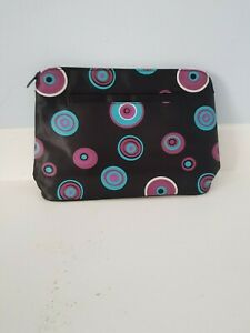 New Black with cirkle print Zip Top Cosmetic Make Up Bag BUY ONE GET ONE FREE!