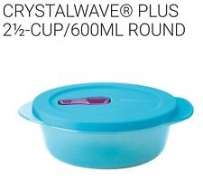 Tupperware Crystalwave Plus 2 1/2 Cup Microwave Safe Bowl Round Aqua Blue New