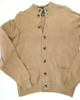 Vintage Oscar De La Renta Cardigan Sweater Men's Size Medium Khaki Tan Knit