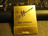 Vintage matchbook Mascara's Italian Cuisine 6997 Chippewa