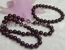 Hot 10mm Brown Round South Sea Shell Pearl Necklace Bracelet Jewelry Set JN528