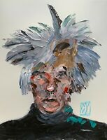 Original Abstract Portrait Andy Warhol Impasto Pop Art Palette Knife Painting