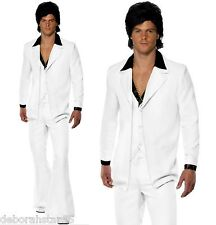 Mens 70s Disco White Suit Waistcoat 1970s Fancy Dress Costume Smiffys 39427 XL - Extra Large