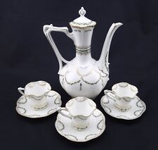 Antique RS Prussia Coffee Set Ruffled Edge Gold Trim Mold 474 Laurel Wreath patt