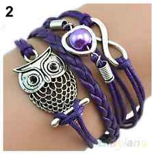 Infinity Owl Peach Heart Pearl Friendship Leather Charm Bracelet plated Silver