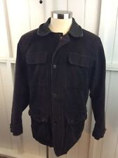 Nautica Mens Corduroy Jacket L Large Chocolate Brown Leather Collar Lined Long