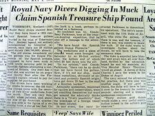 1950 newspaper 16th Century SUNKEN SPANISH ARMADA TREASURE SHIP FOUNDin SCOTLAND