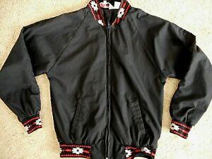 Vintage Mens Navajo Trim Black Red Jacket 80's 90's ? Prairie Fire Large