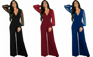 Womens Wide Leg Jumpsuit V Neck Plunge Embellished Long Sleeve Cuffs Plus Size
