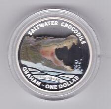 2014 $1 Silver Proof 1 oz Saltwater Crocodile Australia Steve Irwin Catch Graham