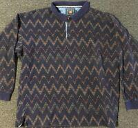Vtg 90s Polo Ralph Lauren Chaps Aztec Rugby Shirt L Blue Sport Striped Western