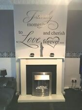 ELECTRIC FIRE IVORY SILVER FIREPLACE SURROUND SET BLACK BACK PANEL PEBBLES SUITE