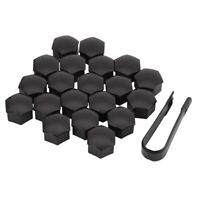 20Pcs 21Mm Car Tire Wheel Bright Black Bolt Nut Covers W/Removal Key Fit fo Y4P3
