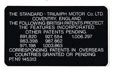 Underbonnet patent sticker - Triumph Herald, Vitesse, Spitfire, TR4, TR5, TR6