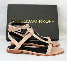 Rebecca Minkoff Nude Leather Studded T Strap Sandals