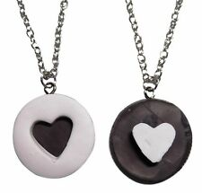 Oreo Cookie 2 Piece Heart  BFF Best Friends Pendant Necklace Set