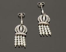 VINTAGE Pearl & Diamond Crown Orecchini Pendenti - 1977