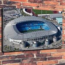 "Famoso Manchester Estadio De Lona Impresa Caja A1.30""x20"" ~ Marco de 30 mm de profundidad de fútbol"