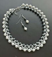 """Pearl glass seed Bead NECKLACE set  Black WHITE  glass 16"""""""