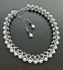 Pearl glass seed Bead NECKLACE set  Black WHITE  glass 16""