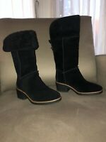 Coach Women's Black Suede Leather/Shearling Turnlock Knee-High Boots FG1011 Sz 5