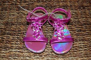 Kenneth Cole Reaction Girl's Pink Jewel Metallic Sandals Sz. 6 NEW