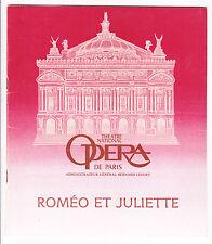Programme Opéra National de Paris  Roméo et Juliette GOUNOD 1982