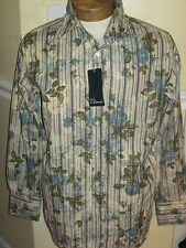 7 DIAMONDS ROSE FLORAL STRIPED FITTED CASUAL COTTON SHIRT MENS L LARGE NEW NWT