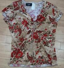 ~RUE 21 Sz S SS SCALLOP GATHER TAN/BROWN/RED FLORAL~$4.50 SHIP~MADE IN USA~Rue21