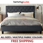 TOMMY SWISS: KING, QUEEN, DOUBLE, KING SINGLE Fabric Bed Frame in Grey, Beige +