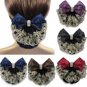 Women Lace Satin Bow Girl Cover Bowknot Barrette Hair Clip Bowknot Net Bun Snood
