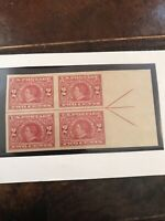 USA 1909 Seward Imperf 2¢ Scott #371 Horisontal Centerline Line Block MNH XF