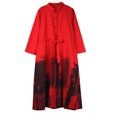 Autumn new fashion women's Ink printing cotton wind coat Elegant long coats Red