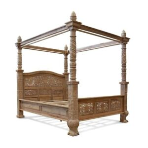 6' UK Super King Teak Wood  French style Four poster floral canopy bed