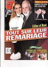 CELINE DION  RARE 7 JOURS MAGAZINE VOLUME 11 DECEMBER 1999 WITH RENE