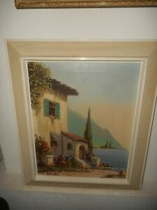 Old oil painting, ( Coast scene with house and flowers, is signed ).