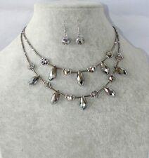set Collana girocollo 2 fili ,orecchini PERLE Perline di vetro da donna argento