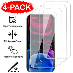 4Pcs For iPhone 13 12 11 Pro X XR XS Max 8 7 SE Tempered Glass Screen Protector