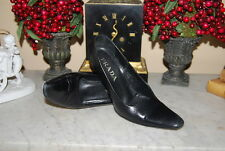 PRADA ITALY BLACK LEATHER HIGH HEEL POINTY TOE WOMEN'S PUMP SHOES SIZE 36 1/2