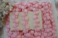 1y VTG PINK DAISY FLOWER SCHIFFLI VENISE COTTON FRENCH DOLL APPLIQUE RIBBON TRIM