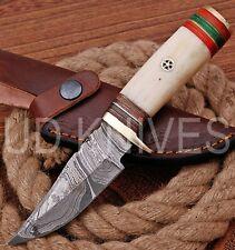 UD HANDMADE FIXED BLADE 1095 DAMASCUS ART HUNTER SKINNER KNIFE CAMEL BONE 10291