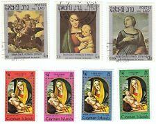 CAYMAN ISLANDS E LAO - Bustina 7 francobolli serie ARTE