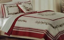 New St. Nicholas Square Embroidered Carol Holiday Quilt Birds Pinecone $159.99