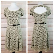 Maurices 7/8 Ivory Lace Overlay Black Cut-Out Back Belted Skater Mini Dress