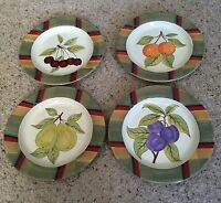 "Certified International Assorted Fruit Pattern 11 1/4"" Dinner Plates Set of 4"