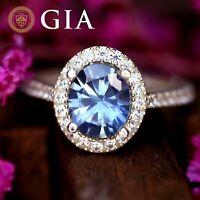 GIA Certified Natural Ceylon Blue Sapphire Diamond 18K White Gold Ring Oval