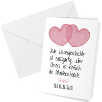 Klappkarte A6 Ich liebe Dich Valentinstag Liebesgeschichte Grusskarte Herzen