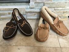 Minnetonka MENS Suede Faux Fur Lined Hardsole Moc Slipper, Choc or Cinnamon Sz12